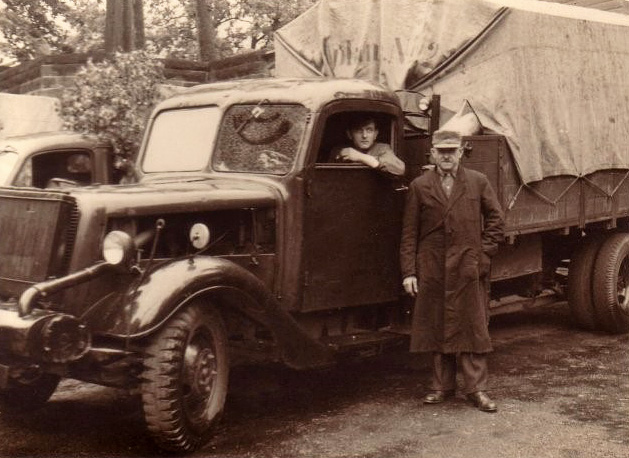 Paul Schulz, his son Heinz Schulz and a wood gas powered truck
